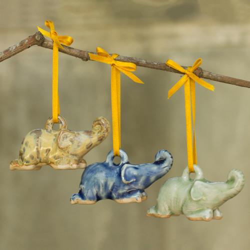 Celadon Ceramic Elephant Ornaments in 3 Colors Set of 3 'Siam Elephant Trio'