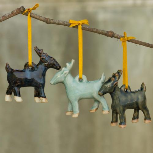 Celadon Ceramic Deer Ornaments in Blue and Brown Set of 3 'Holiday Deer'