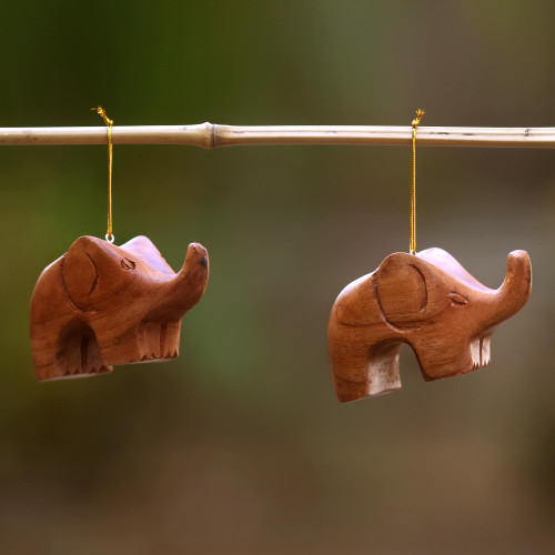 Hand Carved Petite Brown Elephant Wood Ornament Pair 'Little Brown Elephants'