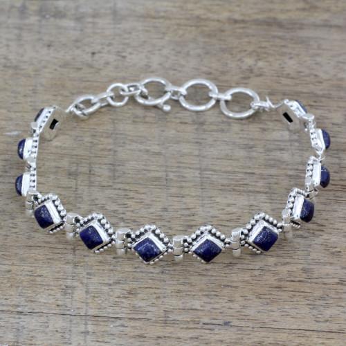 India Lapis Lazuli and Sterling Silver Tennis Bracelet 'Deep Blue Diamonds'