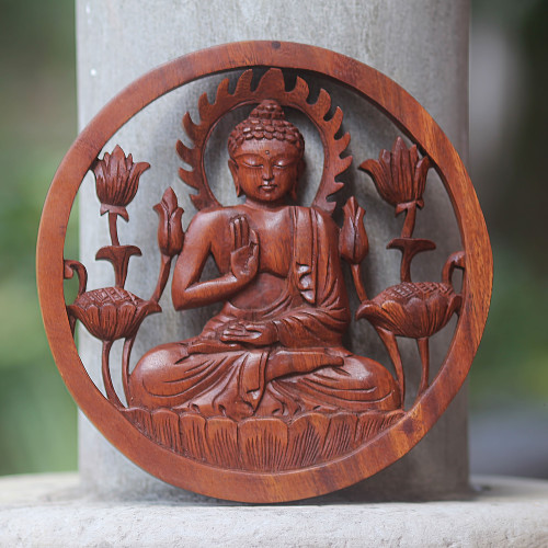 Carved Wood Relief Panel of Buddha with Brown Finish 'Blessing Buddha'