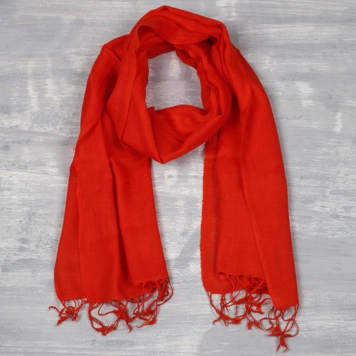 Men's Woven Wool Orange-Red Scarf from India 'Kashmiri Fire'