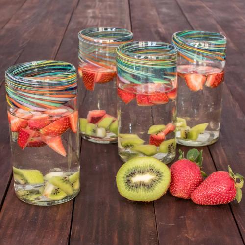 Handblown Recycled Glass Drinkware Small, Set of 4 'Aurora'