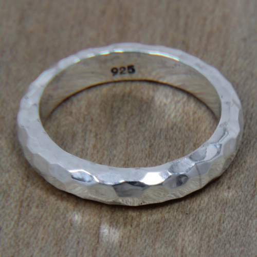 Handcrafted Balinese Sterling Silver Band Ring 'Silver Mosaic'