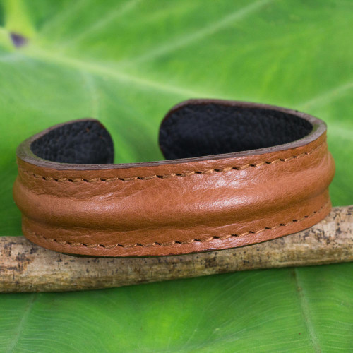 Men's Brown Leather Cuff Bracelet from Thailand 'Basic Brown'