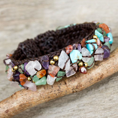 Fair Trade Multi Gemstone Beaded Crocheted Cuff Bracelet 'Colorful Day'