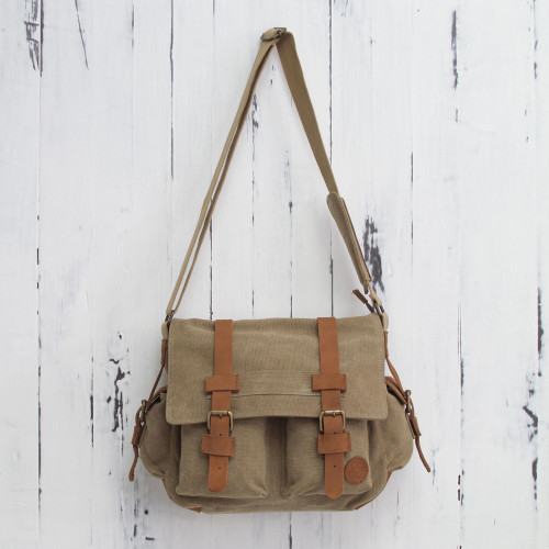 Tan and Brown Leather Accent Roomy Canvas Messenger Bag 'Journey to Puno'