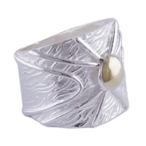 Gold Accent Women's Wide Sterling Silver Band Ring 'Inti Radiance'