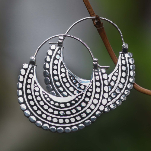 Artisan Crafted Sterling Silver Hoop Style Earrings 'Moon Sliver'