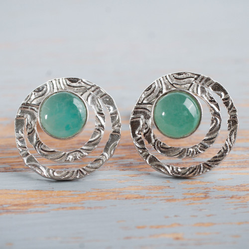 Handcrafted Sterling Silver and Green Opal Button Earrings 'Green Vibrations'