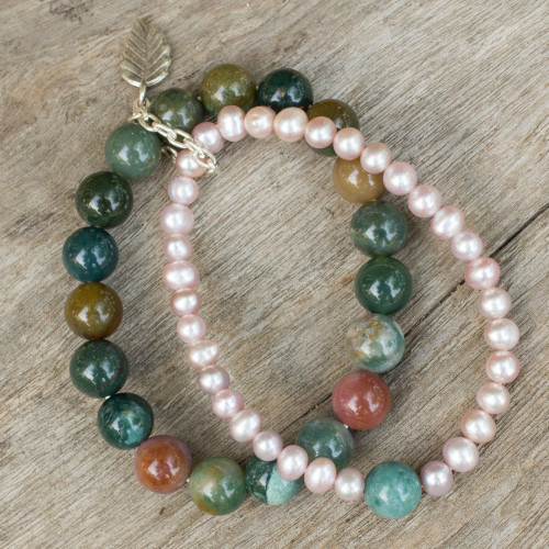 Thai Double Strand Stretch Bracelet with Pearls and Jasper 'Iridescent Garden'
