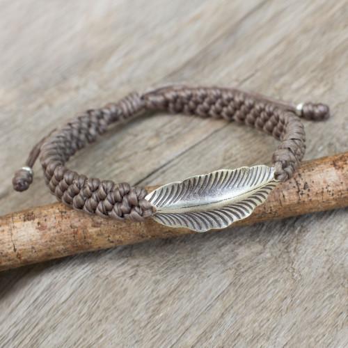 Antiqued Silver Leaf on Khaki Wristband Bracelet 'Khaki Hill Tribe Dream'