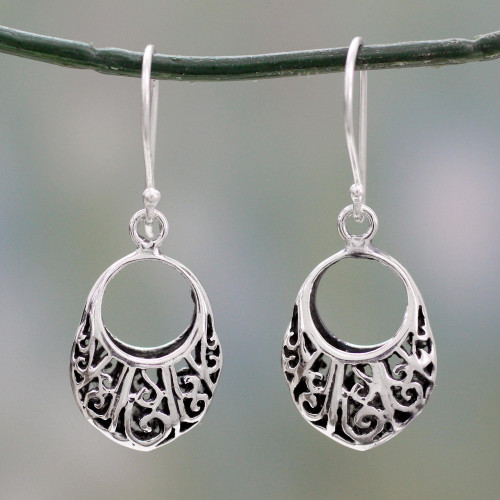 Floral Theme Handcrafted Sterling Silver Earrings from India 'Floral Basket'