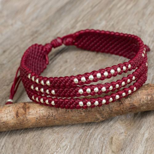 Burgundy Macrame Wristband Bracelet with Silver 950 Beads 'Starlight and Wine'