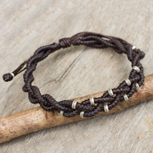 Braided Macrame Bracelet in Espresso Brown with Silver 950 'Brown Hill Tribe Bride'