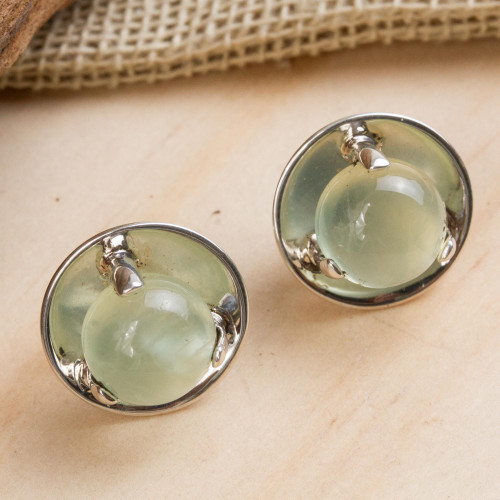 Handcrafted Prehnite and Taxco Silver Earrings 'Light of Taxco'