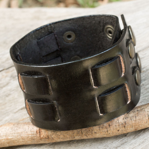 Black Leather Wristband Bracelet for Men Artisan Jewelry 'Rugged Weave in Black'