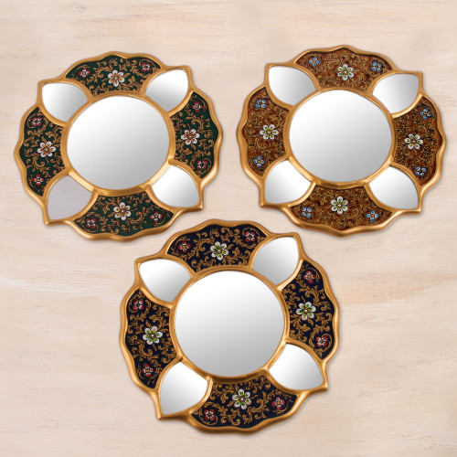 3 Petite Andean Floral Reverse Painted Glass Mirrors 'Floral Glory'