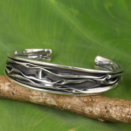 Hand Crafted Sterling Silver Cuff Bracelet from Thailand 'Narrow River'