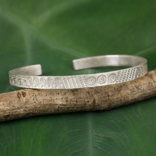Thai Karen Hill Tribe Handcrafted Silver Cuff Bracelet 'Hill Tribe Abundance'