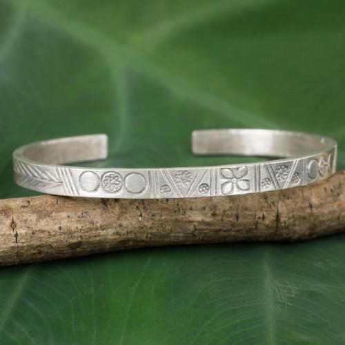 Karen Hill Tribe Sterling Silver Cuff Bracelet from Thailand 'Karen Tradition'