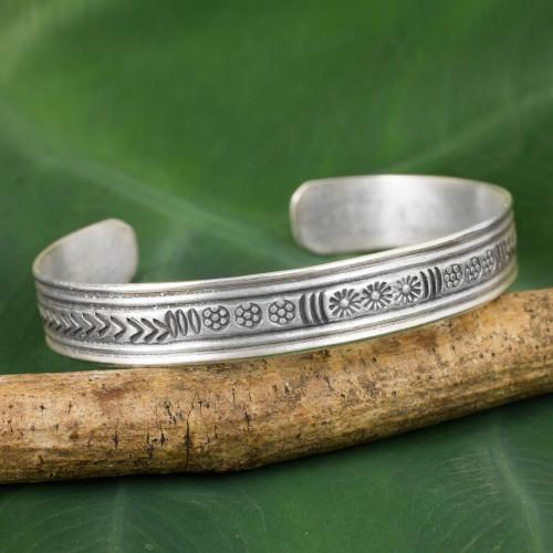 Silver Cuff Bracelet by Thailand Hill Tribe Artisans 'Karen Magic'