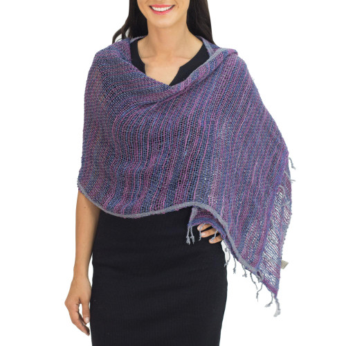 Hand Woven Cotton Shawl Thai Blue Purple Wrap 'Breeze of Blue Purple'