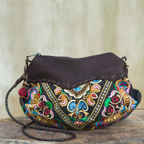 Embroidered Leather Accent Multicolor Handbag 'Espresso Mandarin Garden'