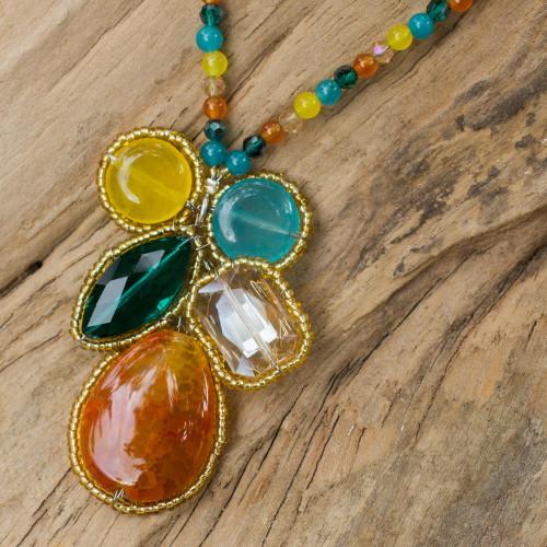 Handcrafted Multicolor Quartz Pendant Necklace from Thailand 'Bright Bohemian Bouquet'