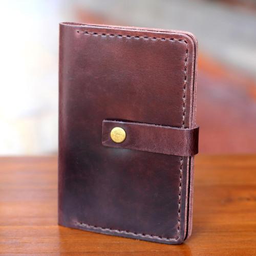 Dark Brown Leather Passport Wallet Handmade in Bali 'Jakarta Oak'