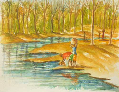 Ghanaian Riverside Original Signed Watercolor Painting 'Fetching Water from the Stream'
