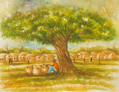 Original Signed Watercolor Painting of an African Village 'Navrongo Village'