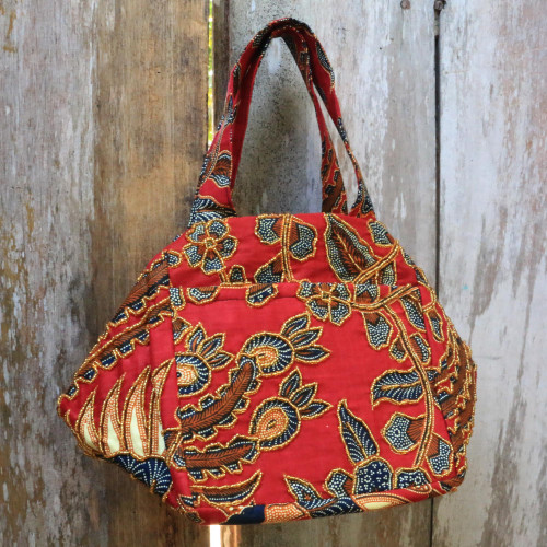 Beaded Red Handbag with Hand Stamped Batik from Bali 'Red Peacock'