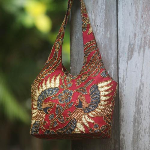 Red Cotton Batik Beaded Shoulder Bag from Bali 'Red Sawunggaling'