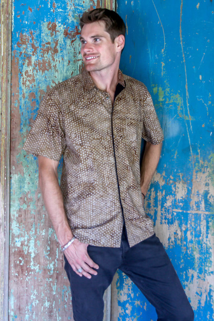 Men's 100 Cotton Shirt Handstamped on Khaki Batik Fabric 'Sweet Basil'