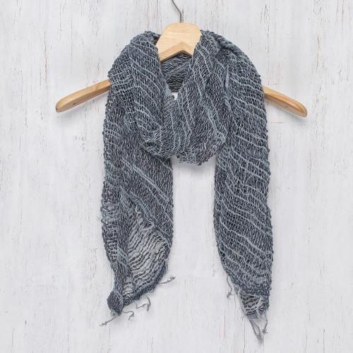 Blue Gray Open Weave Cotton Scarf Handmade in Thailand 'Winter Melange'