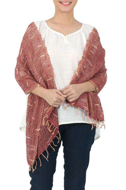 Desert Rose and Beige Loose Weave Cotton Scarf 'Desert Melange'