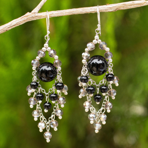 Chandelier Style Earrings with Onyx and Glass Beads 'Brilliant Meteor'