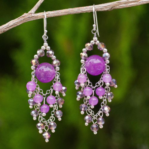 Purple Beaded Chandelier Earrings with Quartz and Glass 'Brilliant Meteor'