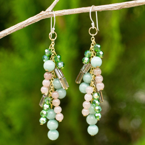Quartz and Glass Bead Waterfall Earrings in Green Shades 'Brilliant Cascade'
