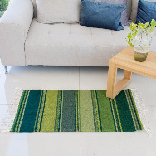 Green and Teal Handwoven Zapotec Wool Rug 2x3 'Zapotec Hillsides'