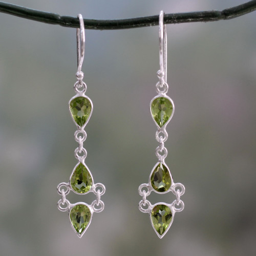 Peridot and Sterling Silver Earrings Handcrafted in India 'Mystic Wonder'