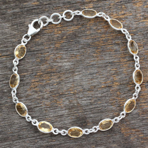 India Handcrafted Sterling Silver Citrine Tennis Bracelet 'Romantic Yellow'