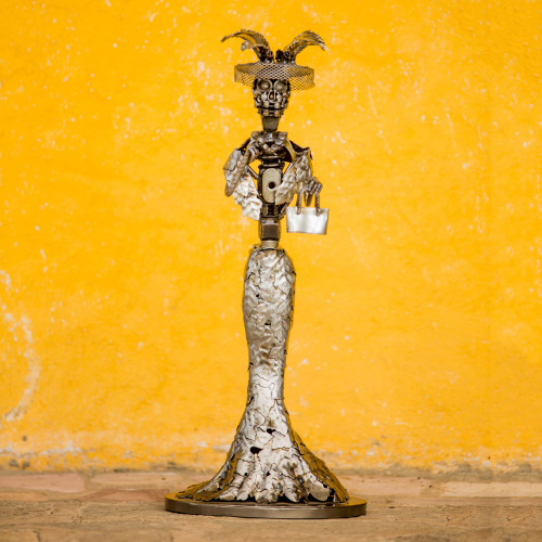 Day of the Dead Catrina Skeleton Recycled Metal Sculpture 'Elegant Catrina'