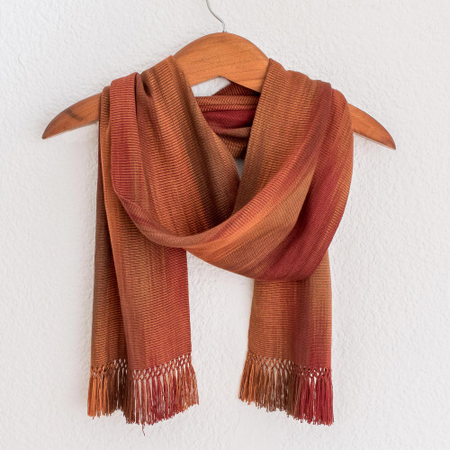 Orange Brown Maroon Hand Woven Rayon Chenille Scarf 'Solola Dawn'