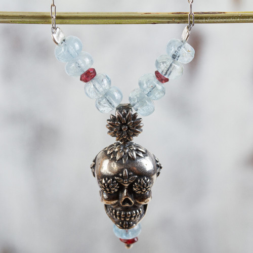 Day of the Dead Silver Necklace with Garnet and Quartz 'Cempazuchitl Skull'