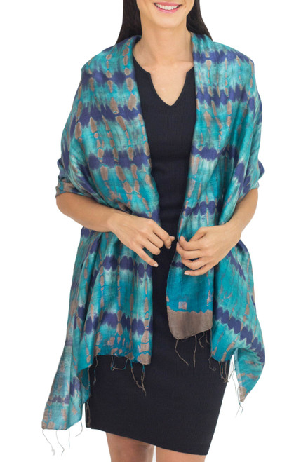 Thai Artisan Crafted Teal and Blue Tie Dyed Silk Shawl 'Teal Reflecting Pools'