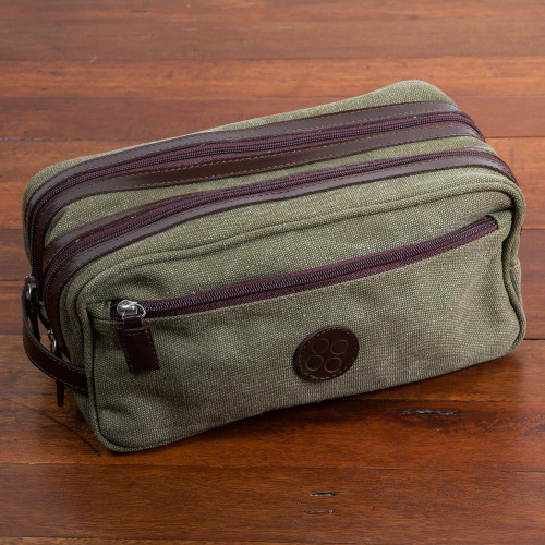 Men's Leather Accent Olive Green Cotton Travel Case 'Olive Textures'