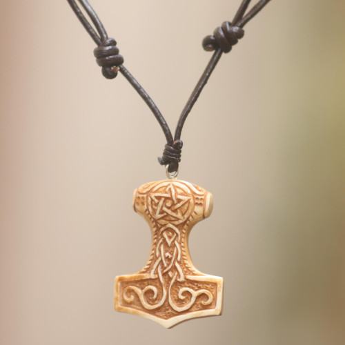 Celtic Design Carved Bone Pendant Necklace on Leather Cord 'Star Tower'