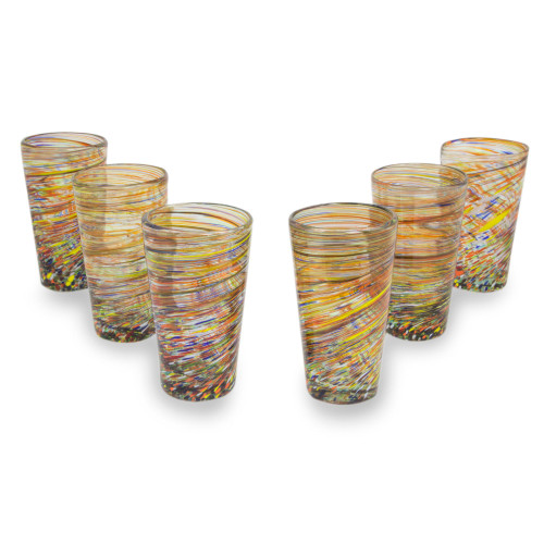 Hand Blown Mexican Multicolor 13 oz Highball Glasses 6 'Rainbow Centrifuge'
